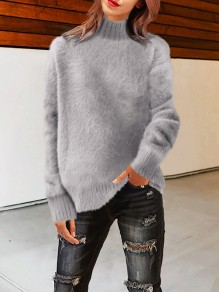 Light Grey High Neck Long Sleeve Oversize Fashion Pullover Sweater