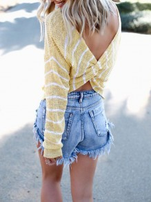 Yellow Plaid Print Cross Back Backless Round Neck Long Sleeve Preppy Style Pullover Sweater
