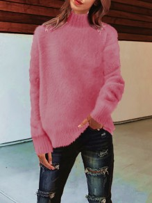 Pink High Neck Long Sleeve Oversize Fashion Pullover Sweater