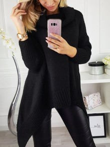 Black Irregular Cowl Neck Long Sleeve Oversize Fashion Pullover Sweater