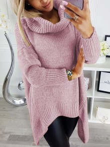 Pink Irregular Cowl Neck Long Sleeve Oversize Fashion Pullover Sweater