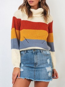 Red Yellow Striped Print High Neck Long Sleeve Fashion Pullover Sweater