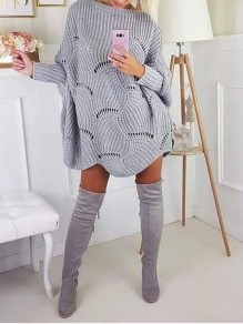 Grey Cut Out Wavy Edge Bodycon Dolman Sleeve Going out Sweaters