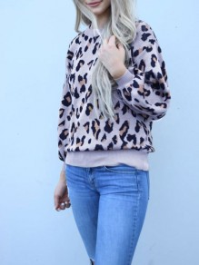 Light Purple Leopard Print Round Neck Long Sleeve Casual Pullover Sweater