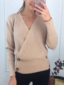 Khaki Buttons V-neck Long Sleeve Fashion Pullover Sweater