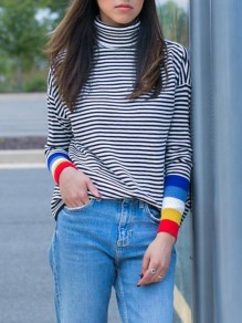 Black White Striped Print High Neck Long Sleeve Fashion Pullover Sweater