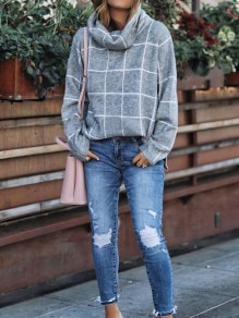 Grey Plaid Turndown Collar Long Sleeve Oversize Pullover Fashion Sweater