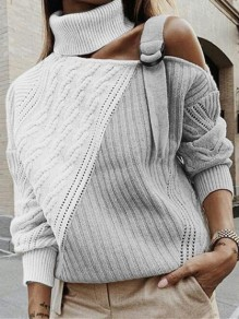 Apricot Patchwork Belt Bodycon Hit Color Going out Sweater