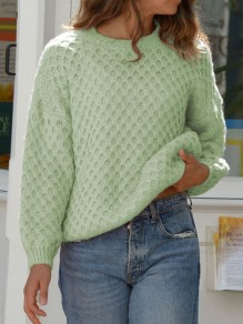 Green Plaid Round Neck Long Sleeve Oversize Pullover Fashion Sweater
