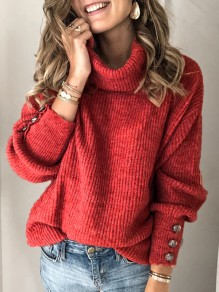 Nacarat Buttons High Neck Long Sleeve Fashion Pullover Sweater