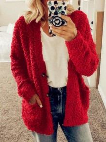 Red Pockets Single Breasted Fuzzy Long Sleeve Casual Cardigan Sweater