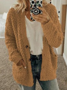 Coffee Pockets Single Breasted Fuzzy Long Sleeve Casual Cardigan Sweater