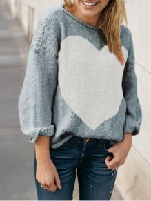 Grey Love Thanksgiving Day Clothing Long Sleeve Round Neck Casual Pullover Sweater
