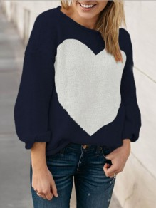 Navy Blue Love Thanksgiving Day Clothing Long Sleeve Round Neck Casual Pullover Sweater
