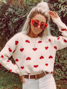 White Love Pattern Print Round Neck Long Sleeve Knitting Thanksgiving Day Valentine's Day Pullover Sweater