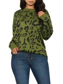Green Leopard Print Round Neck Long Sleeve Casual Pullover Sweater
