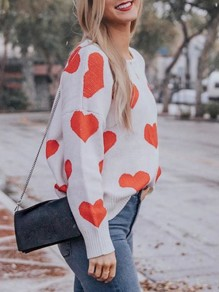 White Love Heart Print Backless Round Neck Long Sleeve Cute Thanksgiving Valentine's Day Pullover Sweater