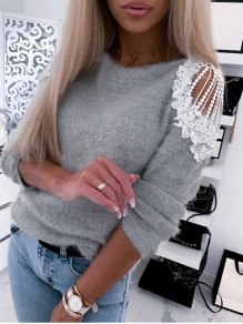 Grey Patchwork Lace Cut Out Bodycon Comfy Going out Sweater