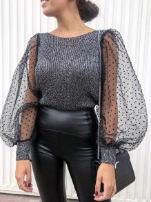 Dark Grey Patchwork Grenadine Round Neck Puff Sleeve Pullover Sweater