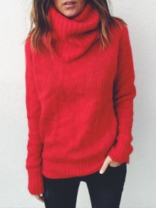 Red High Neck Long Sleeve Fashion Oversize Pullover Sweater