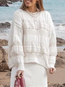 White Patchwork Lace Round Neck Long Sleeve Fashion Pullover Sweater