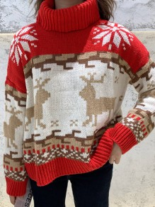 Red Christmas Print High Neck Long Sleeve Cute Ugly Pullover Sweater