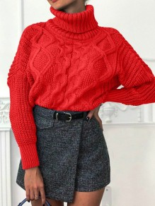 Red High Neck Long Sleeve Oversize Pullover Fashion Sweater