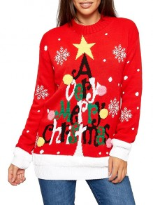 Red Monogram Print Christmas Round Neck Long Sleeve Cute Pullover