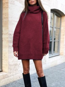 Burgundy High Neck Long Sleeve Oversize Fashion Pullover Sweater