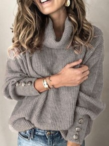 Grey Single Breasted High Neck Lantern Sleeve Cowl Neck Elegant Pullover Sweater