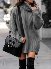 Grey Turndown Collar Long Sleeve Pullover Fashion Long Sweater