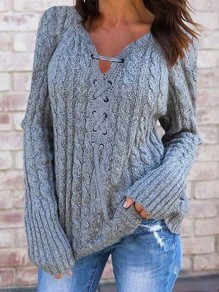 Grey Bodycon Comfy V-neck Lace Up Long Sleeve Going out Sweater