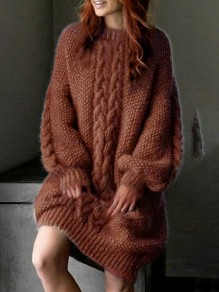 Brown Patchwork Print Oversize Round Neck Puff Sleeve Fashion Pullover Sweater