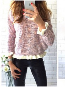 Pink Patchwork Lace Long Sleeve Going out Sweater