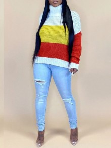 Red Striped Print High Neck Long Sleeve Pullover Sweater