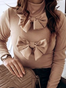 Khaki Bow High Neck Long Sleeve Fashion Pullover Sweater