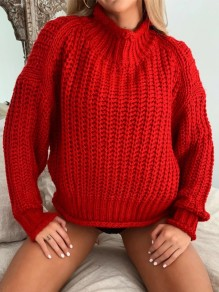 Red Patchwork Irregular High Neck Long Sleeve Fashion Pullover Sweater