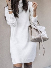 White Turndown Collar Long Sleeve Pullover Fashion Long Sweater