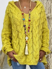 Yellow Hooded Long Sleeve Oversize Fashion Pullover Sweater