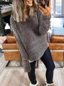 Coffee Patchwork Round Neck Long Sleeve Oversize Pullover Sweater