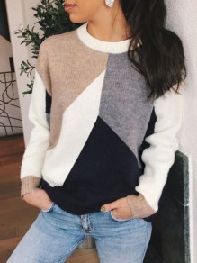 White Color Block Round Neck Long Sleeve Fashion Pullover Sweater