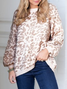 Light Khaki Leopard Print Round Neck Long Sleeve Oversize Pullover Sweater