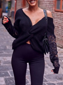 Black Patchwork Lace Irregular Backless V-neck Long Sleeve Twist Back Pullover Sweater