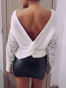 White Patchwork Lace Irregular Backless V-neck Long Sleeve Pullover Sweater