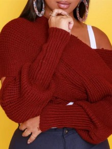 Red Draped Cross Off Shoulder Cut Out Multi Way Crop Pullover Sweater
