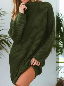 Green Round Neck Long Sleeve Pullover Oversize Long Sweater