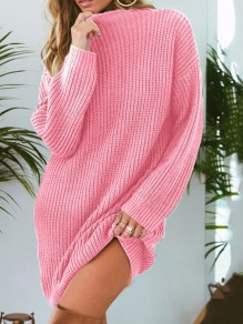 Pink Round Neck Long Sleeve Pullover Oversize Long Sweater