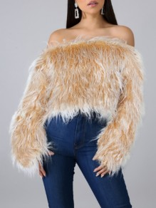 Yellow Faux Fur Off Shoulder Backless Fuzzy Teddy Elegant Party Pullover Sweater