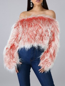Red Faux Fur Off Shoulder Backless Fuzzy Teddy Elegant Party Pullover Sweater