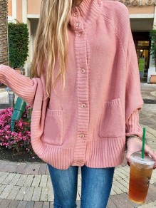 Pink Patchwork Buttons Pockets Band Collar Long Sleeve Fashion Sweater Pullover